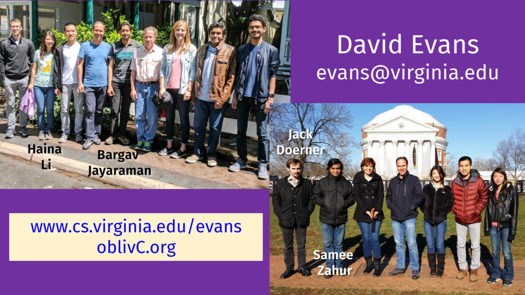 David Evans evans@virginia.edu www.cs.virginia....