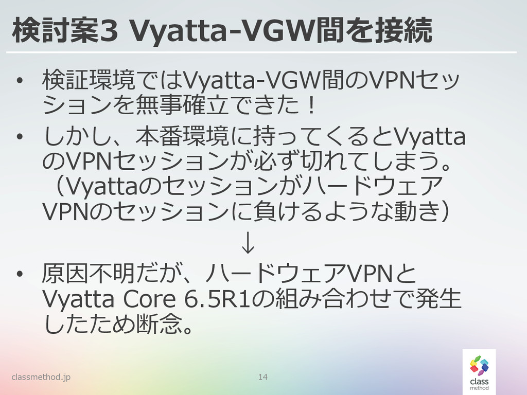 classmethod.jp 14 検討案3 Vyatta-‐‑‒VGW間を接続 • 検証...
