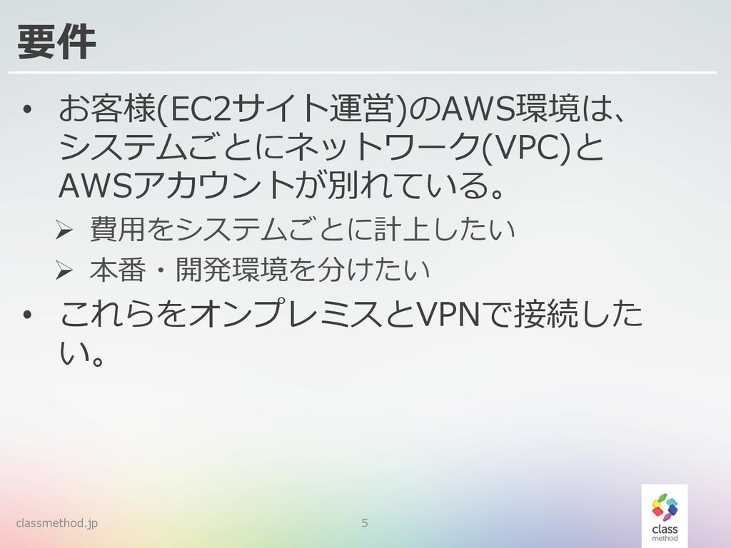 classmethod.jp 5 要件 • お客様(EC2サイト運営)のAWS環境は、 シス...