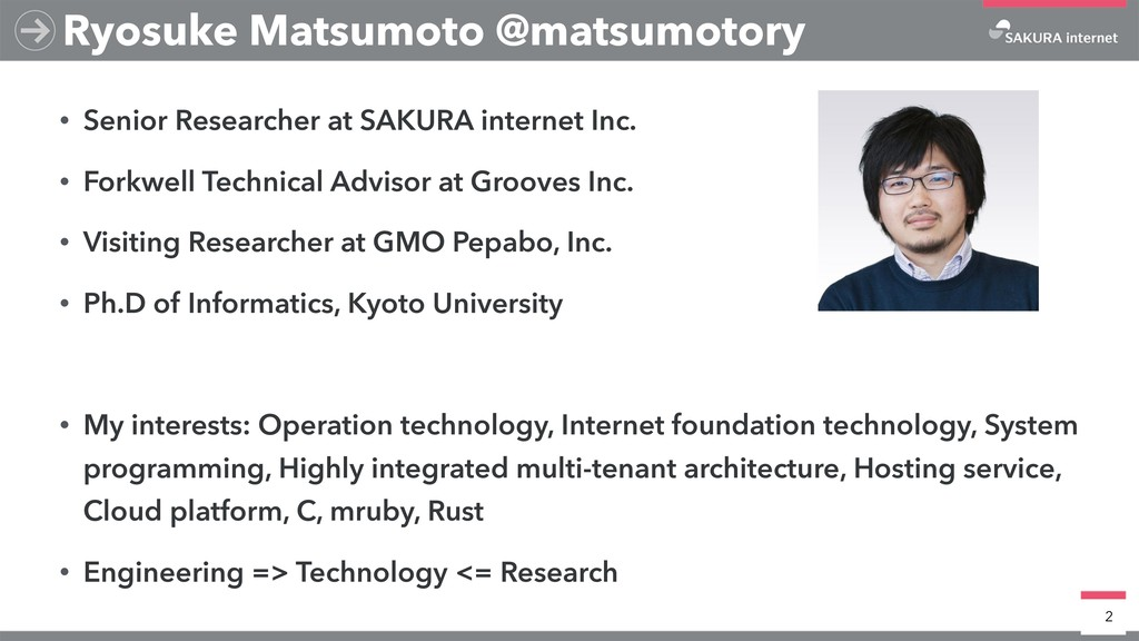 • Senior Researcher at SAKURA internet Inc. • F...
