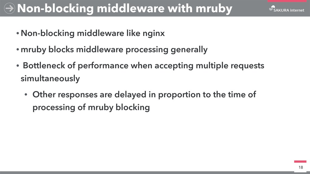 • Non-blocking middleware like nginx • mruby bl...