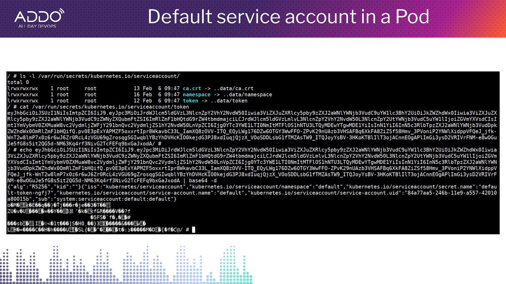 Default service account in a Pod