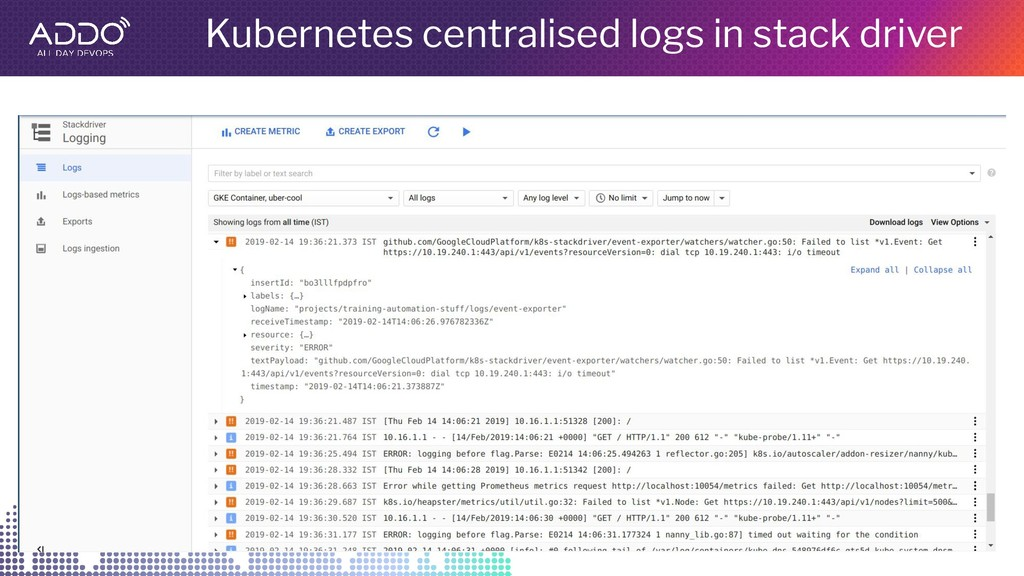 Kubernetes centralised logs in stack driver