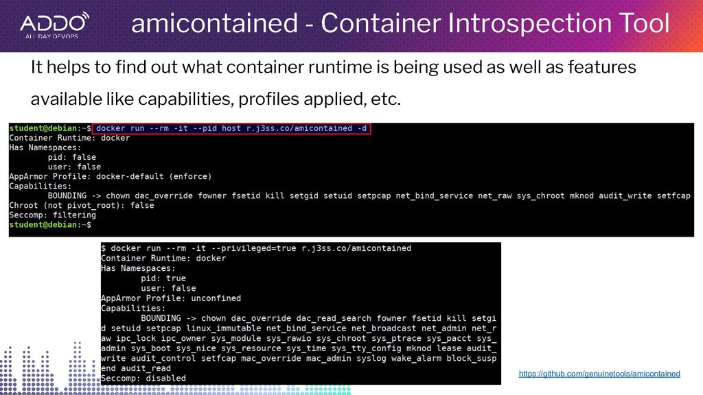 amicontained - Container Introspection Tool htt...