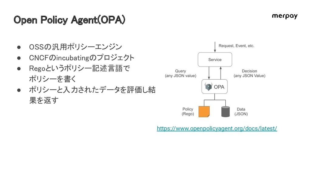 Open Policy Agent(OPA) https://www.openpolicya...
