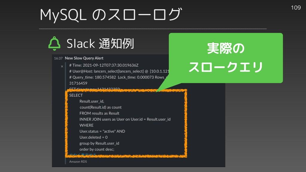 MySQL のスローログ 109 Slack 通知例 実際の   スロークエリ