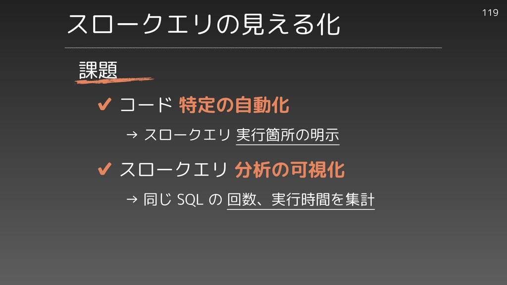 ✔︎ コード 特定の自動化     → スロークエリ 実行箇所の明示   ✔︎ スロークエリ ...