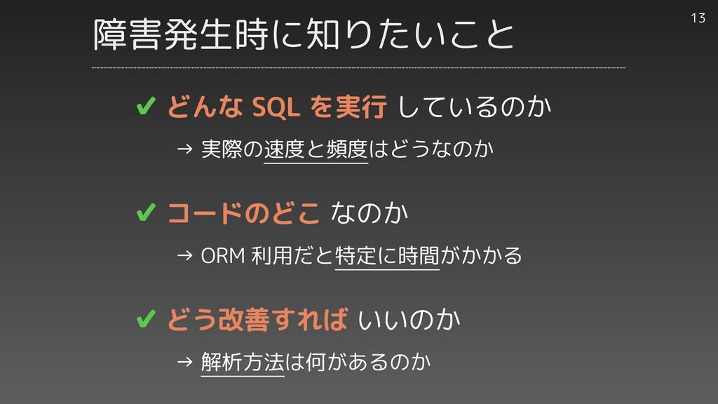 ✔︎ どんな SQL を実行 しているのか     → 実際の速度と頻度はどうなのか   ✔︎...