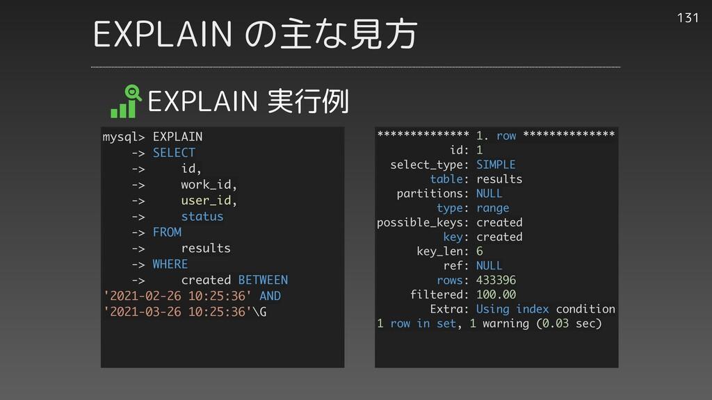 EXPLAIN の主な見方 131 EXPLAIN 実行例 ************** 1....
