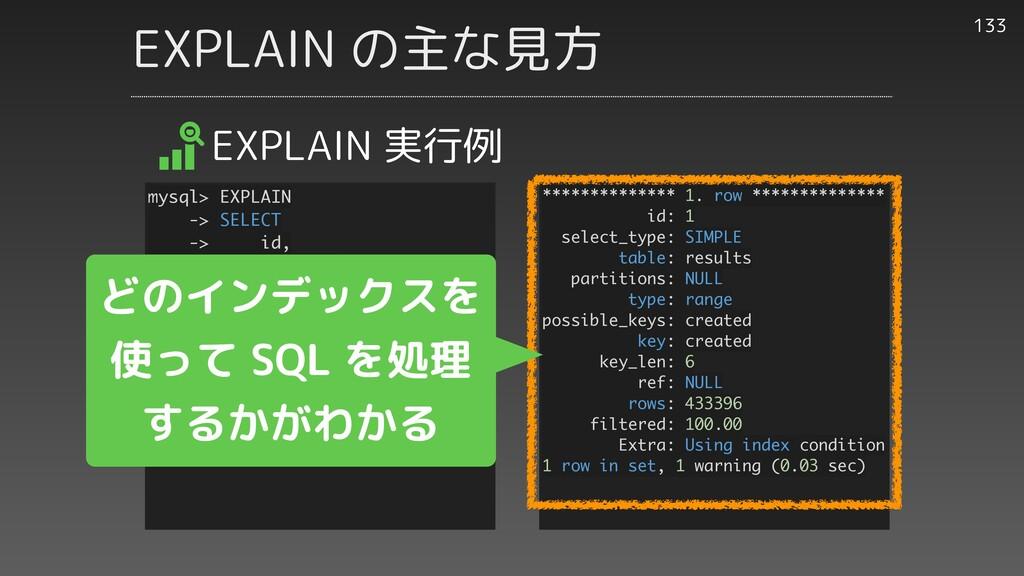 EXPLAIN の主な見方 133 EXPLAIN 実行例 ************** 1....