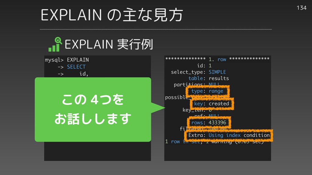 EXPLAIN の主な見方 134 EXPLAIN 実行例 ************** 1....