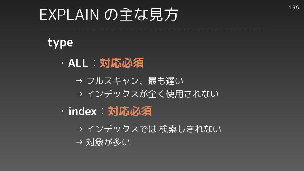 ・ALL:対応必須     → フルスキャン、最も遅い     → インデックスが全く使用され...