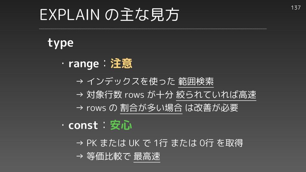 ・range:注意     → インデックスを使った 範囲検索     → 対象行数 rows...