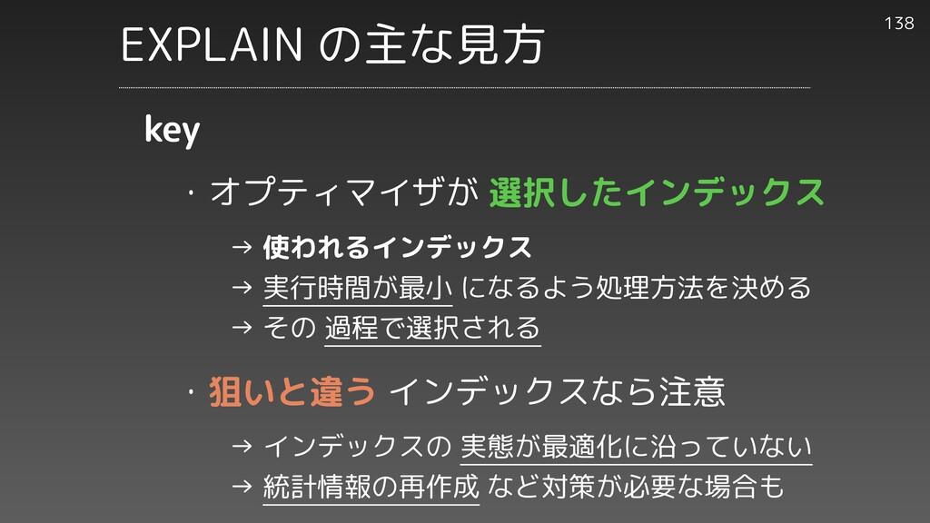 ・オプティマイザが 選択したインデックス     → 使われるインデックス     → 実行時...