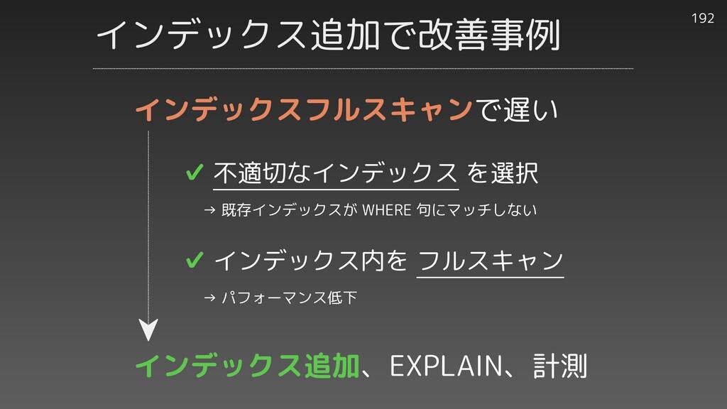 インデックス追加で改善事例 192 ✔︎ 不適切なインデックス を選択   → 既存インデック...
