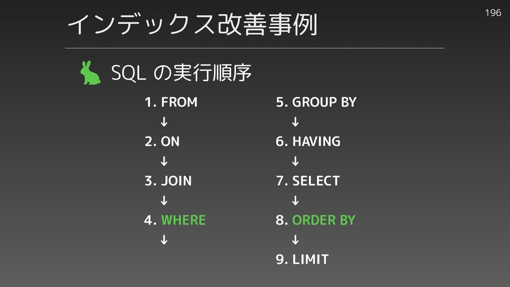 196 SQL の実行順序 インデックス改善事例 1. FROM    ↓   2. ON  ...