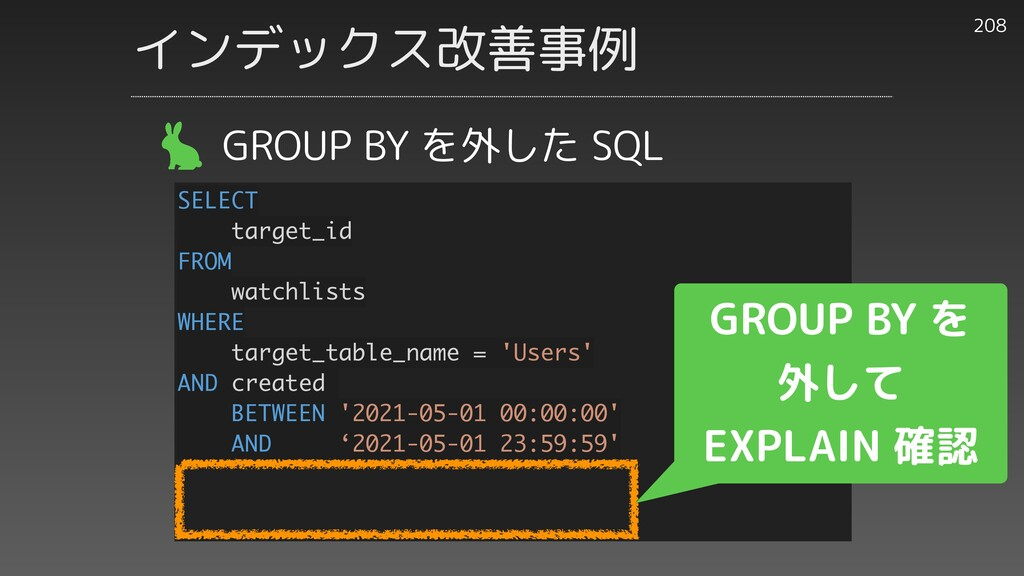 208 GROUP BY を外した SQL SELECT target_id FROM wat...