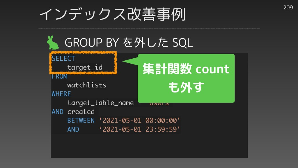 209 GROUP BY を外した SQL SELECT target_id FROM wat...