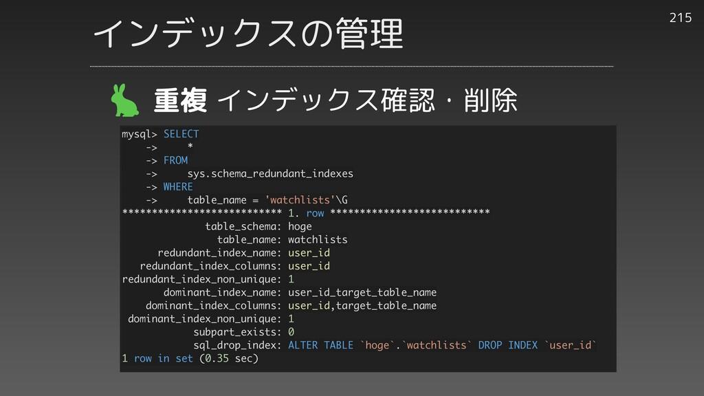 215 重複 インデックス確認・削除 mysql> SELECT -> * -> FROM -...
