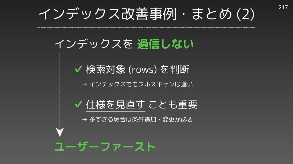 インデックス改善事例・まとめ (2) 217 ✔︎ 検索対象 (rows) を判断   → イ...