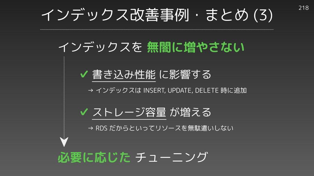 インデックス改善事例・まとめ (3) 218 ✔︎ 書き込み性能 に影響する   → インデッ...