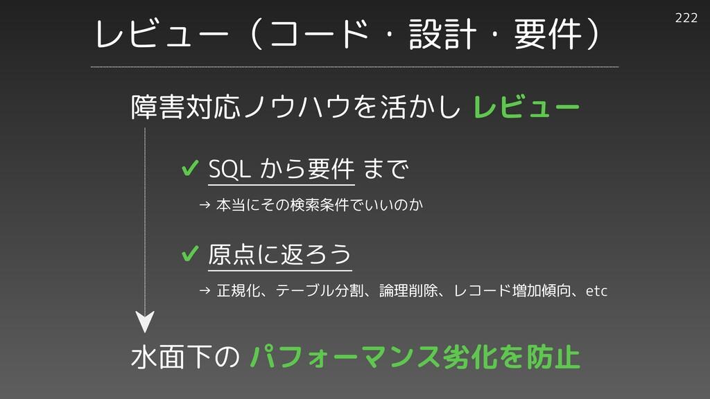 レビュー(コード・設計・要件) 222 ✔︎ SQL から要件 まで   → 本当にその検索条...
