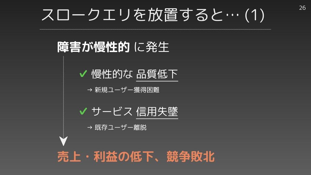 スロークエリを放置すると… (1) 26 ✔︎ 慢性的な 品質低下   → 新規ユーザー獲得困...