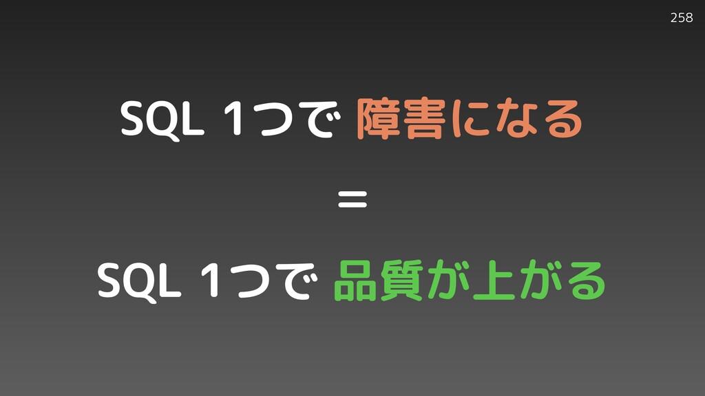 258 SQL 1つで 障害になる   =   SQL 1つで 品質が上がる