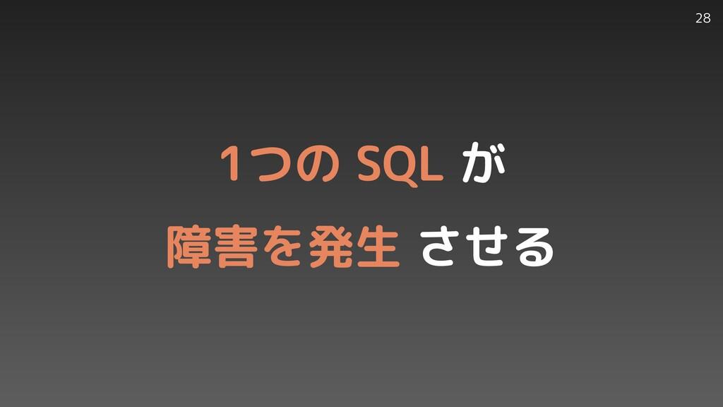 28 1つの SQL が   障害を発生 させる