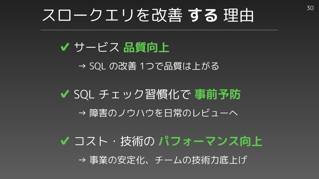 ✔︎ サービス 品質向上     → SQL の改善 1つで品質は上がる   ✔︎ SQL チ...