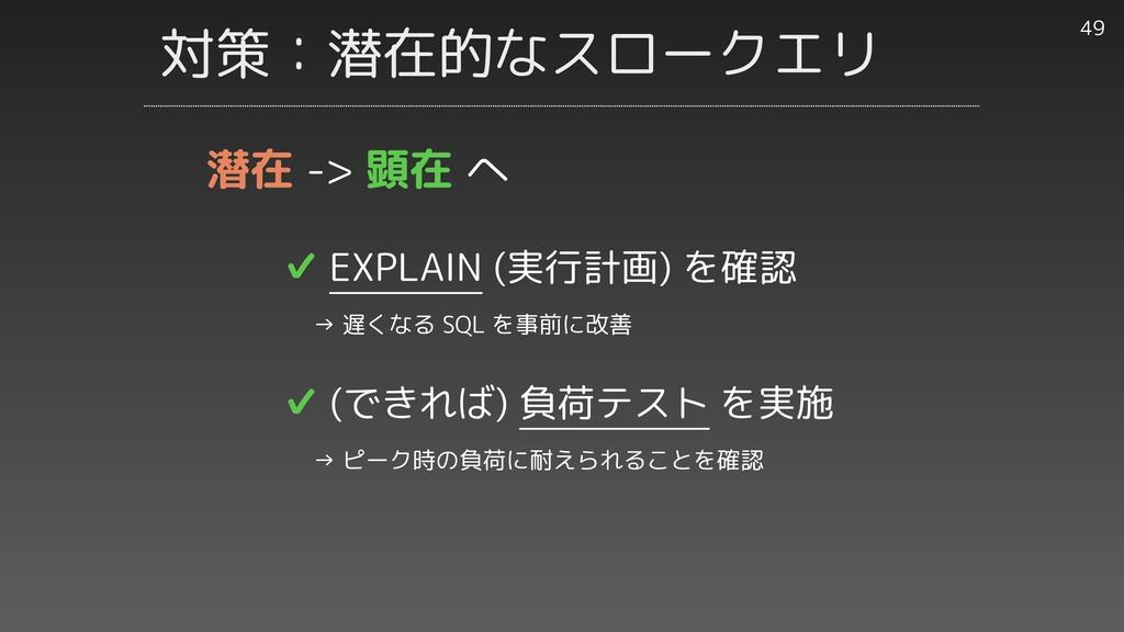 対策:潜在的なスロークエリ 49 ✔︎ EXPLAIN (実行計画) を確認   → 遅くなる...