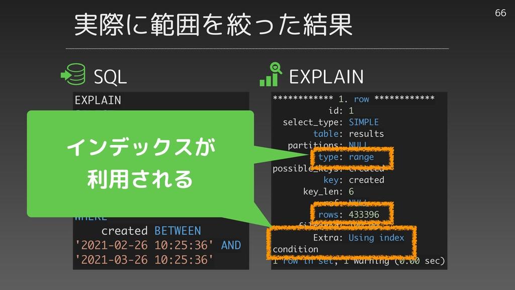 実際に範囲を絞った結果 66 EXPLAIN SELECT id, work_id, user...