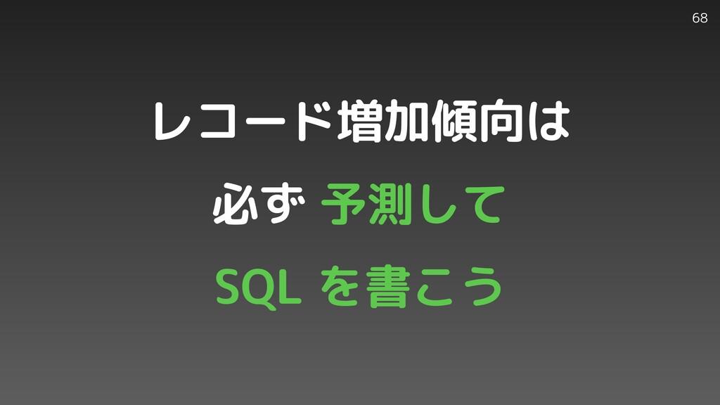 68 レコード増加傾向は   必ず 予測して   SQL を書こう