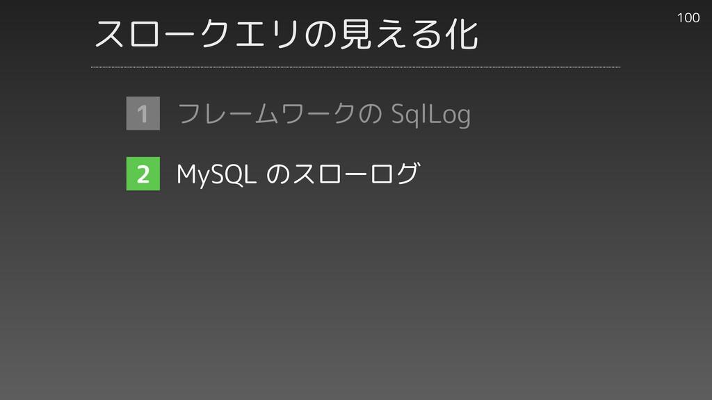 スロークエリの見える化 100 1 2 2 フレームワークの SqlLog   MySQL の...