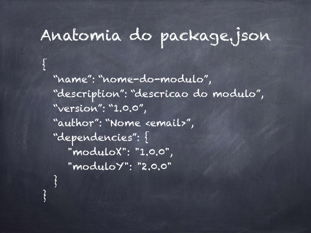 "Anatomia do package.json { ""name"": ""nome-do-mod..."
