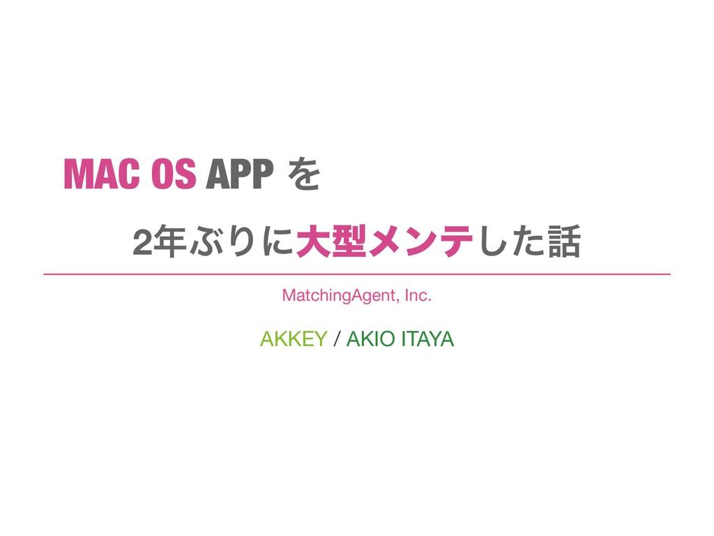AKKEY / AKIO ITAYA MatchingAgent, Inc. 2ͿΓʹେܕϝ...