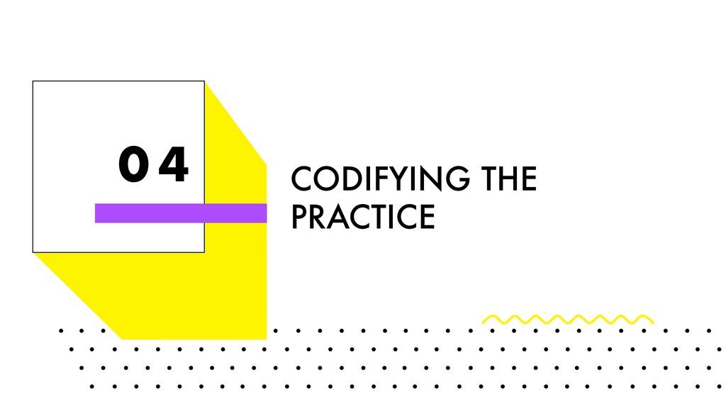 0 4 CODIFYING THE PRACTICE