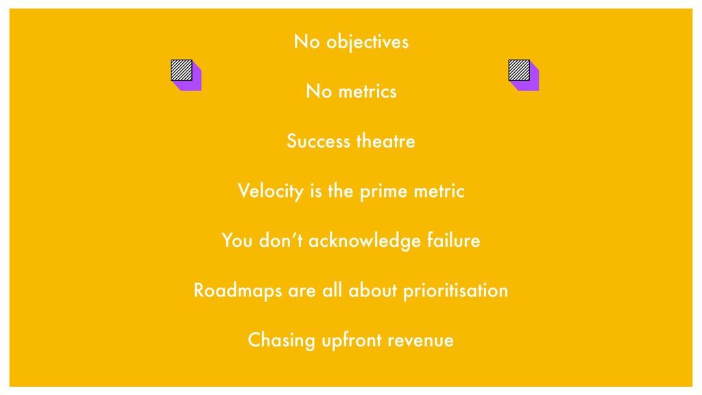 No objectives No metrics Success theatre Veloci...