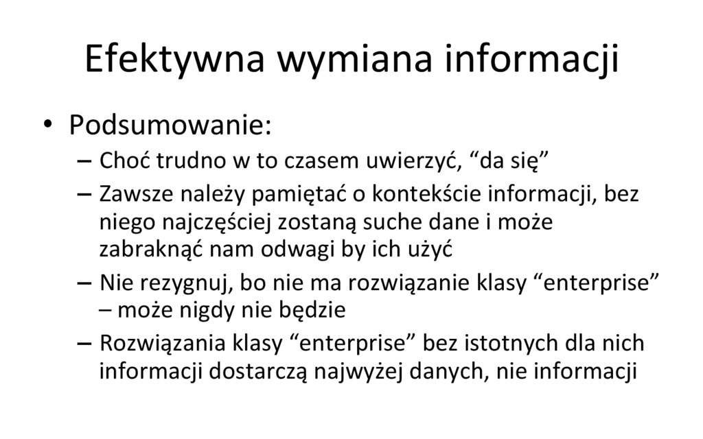 Efektywna wymiana informacji  • Podsu...