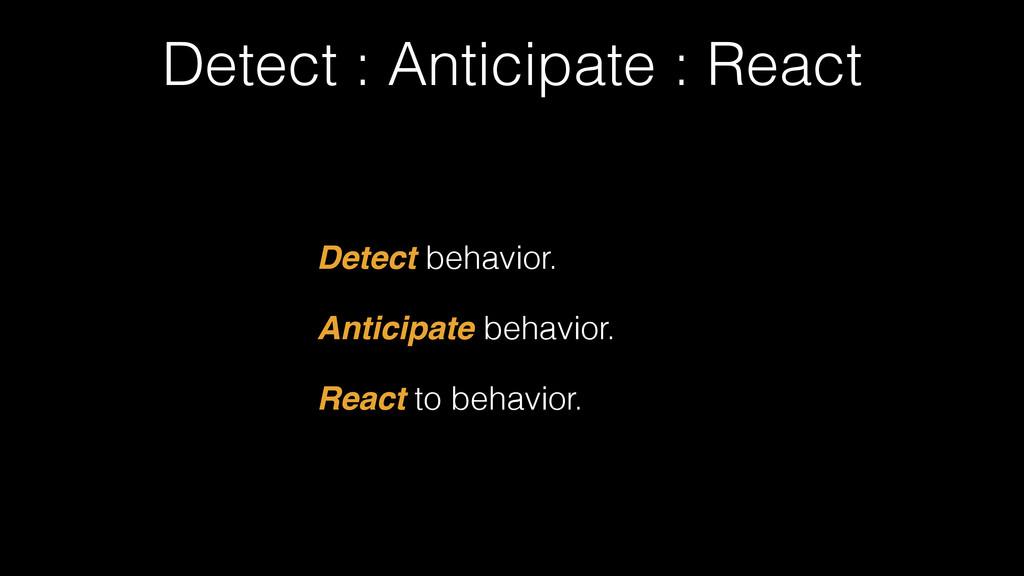Detect : Anticipate : React Detect behavior. An...