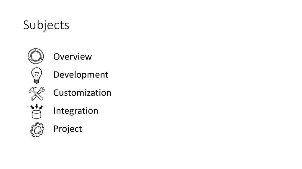Subjects Overview Development Customization Int...