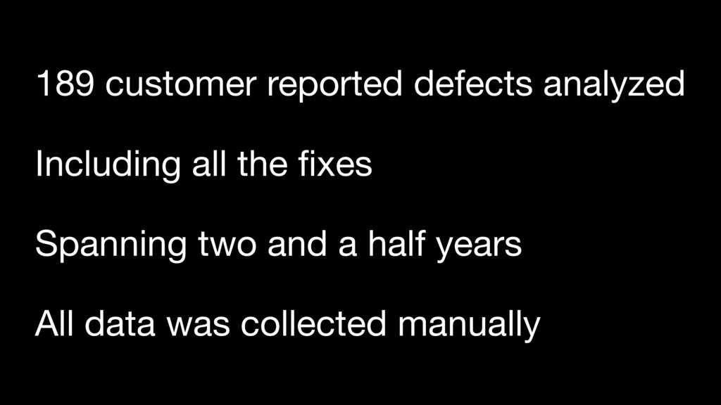 189 customer reported defects analyzed Spanning...