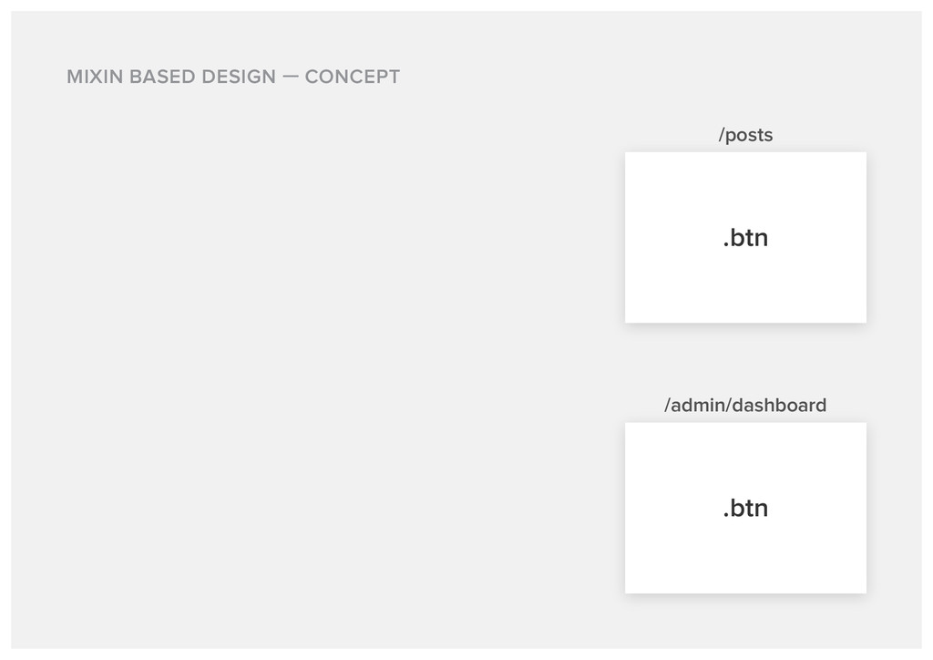 MIXIN BASED DESIGN CONCEPT /posts .btn .btn /ad...