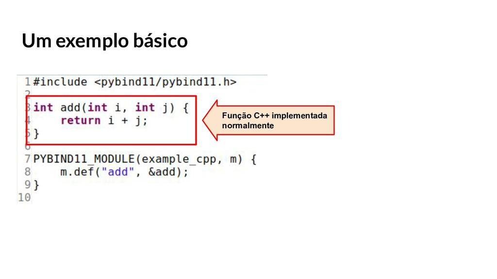 Um exemplo básico Função C++ implementada norma...