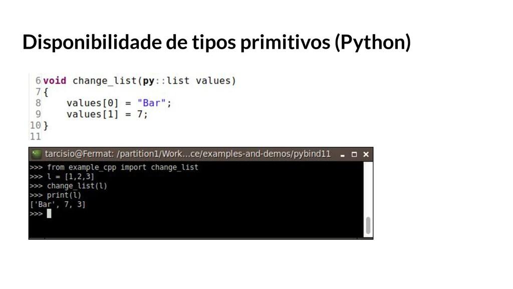 Disponibilidade de tipos primitivos (Python)