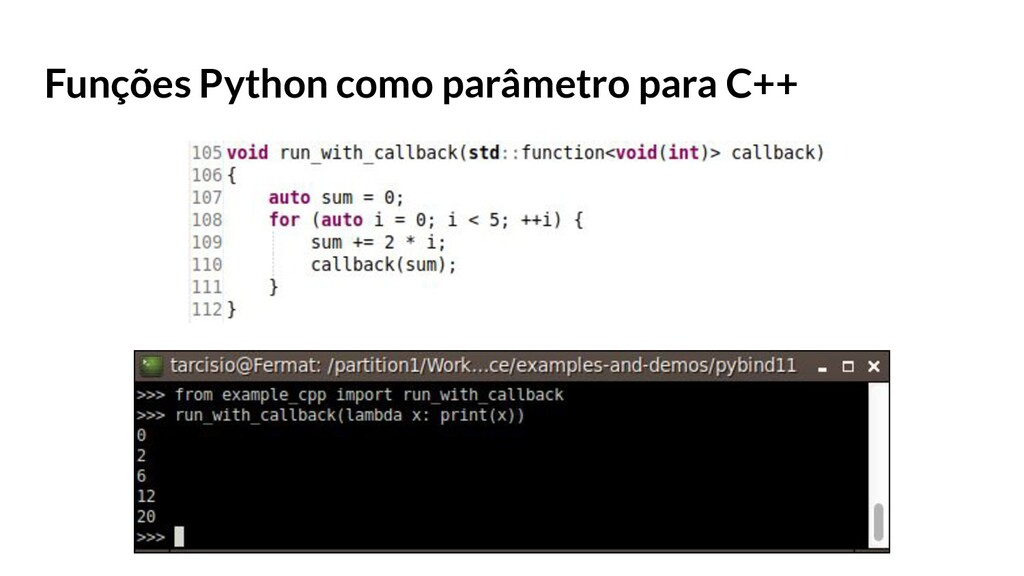 Funções Python como parâmetro para C++