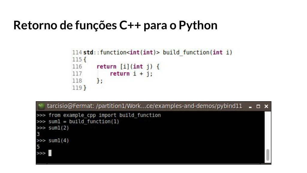 Retorno de funções C++ para o Python
