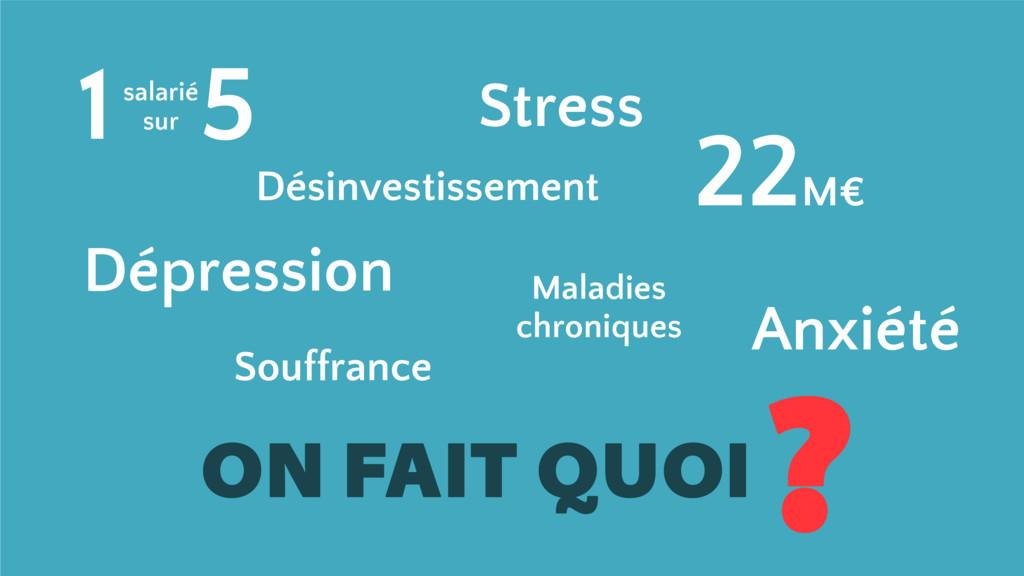 ON FAIT QUOI ? 1 5 salarié sur Stress Maladies ...