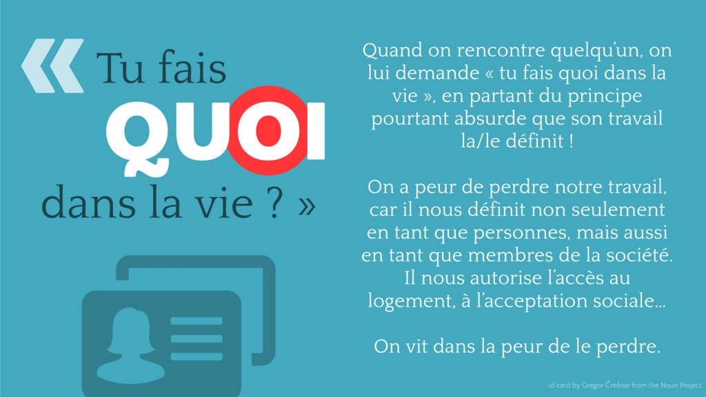 Tu fais QUOI dans la vie ? » id card by Gregor ...