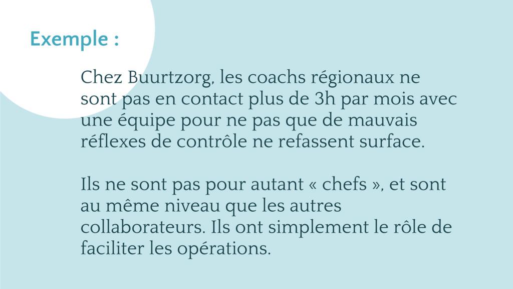 Exemple : Chez Buurtzorg, les coachs régionaux ...